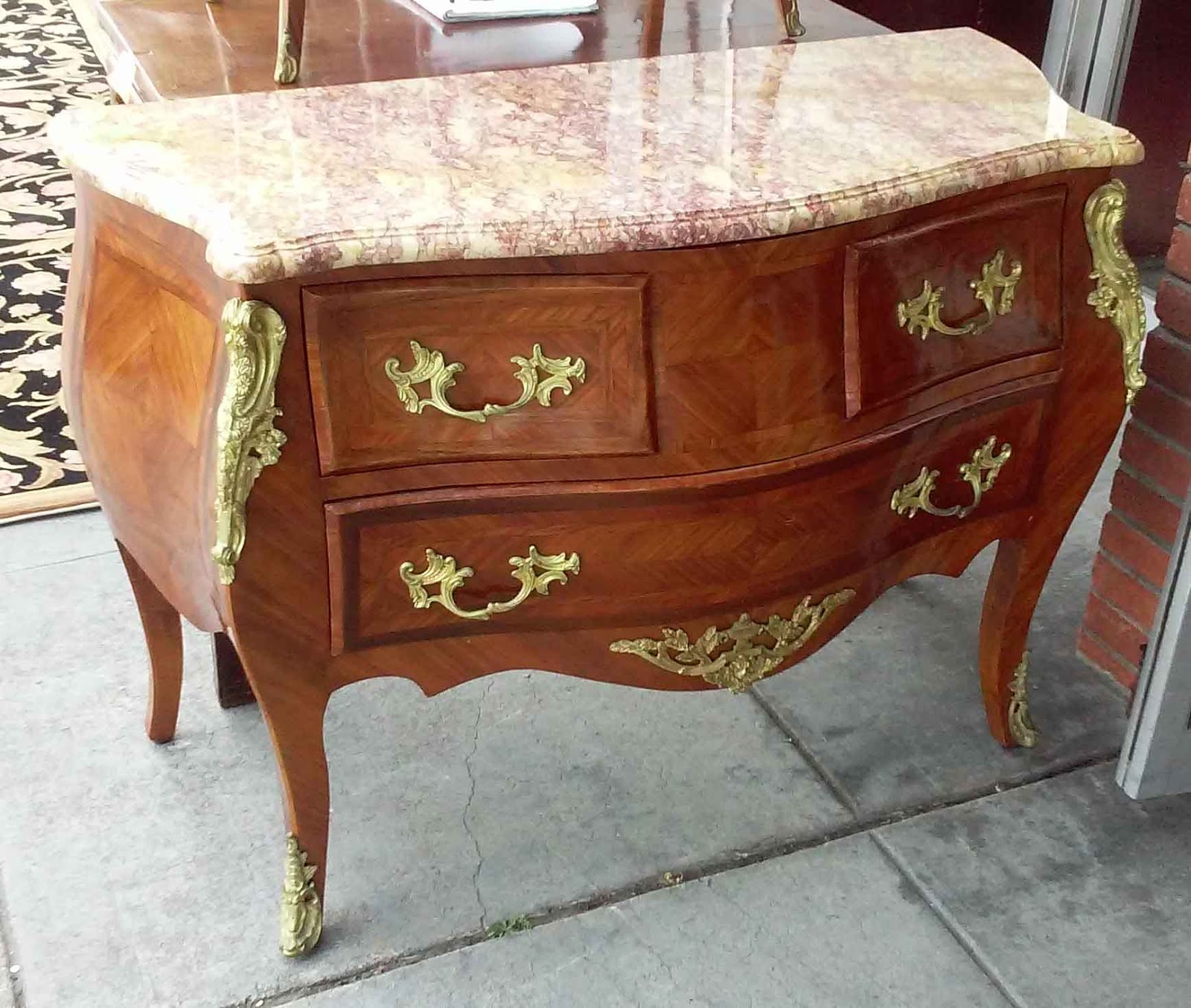 UHURU FURNITURE COLLECTIBLES SOLD MarbleTop Louis XIV Style