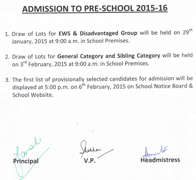 Bal Bharti Public School BBPS Dwarka Draw Of Lots Nursery Admission 2015-16