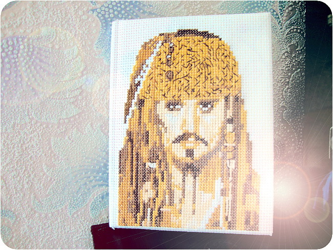 Cross Stitch, Handmade, Jack Sparrow, Note, Stitching