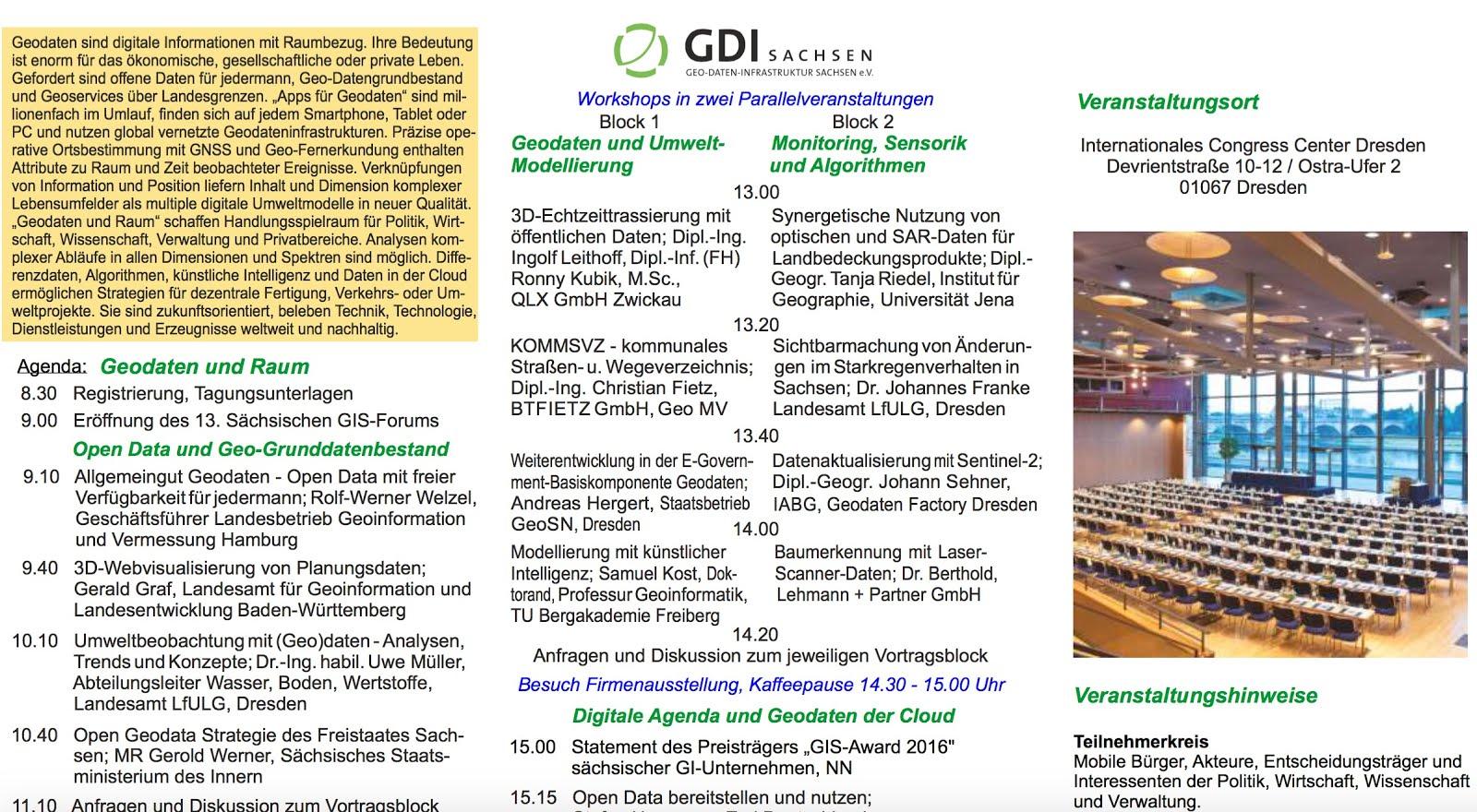 """13. Sächsisches GIS-Forum des GDI Sachsen e.V. mit Vortagesveranstaltung Technischer Workshop """"Apps"""