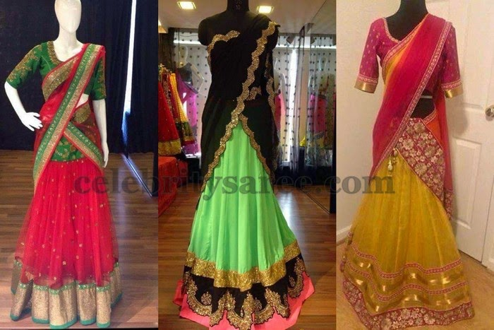 Latest Party Wear Half Saris 2015