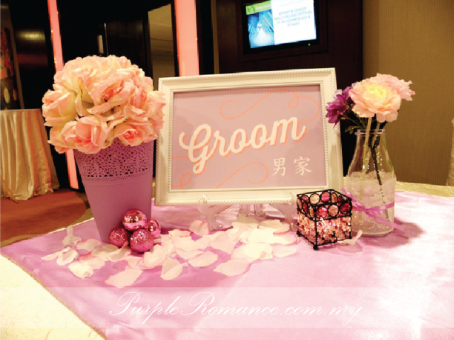 婚礼装饰服务, groom side, KL, kuala lumpur, candle holder, petals, pink, purple, vase, flower, ornaments