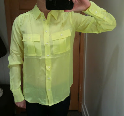 J. Crew Blythe Blouse in Silk in Neon Kiwi