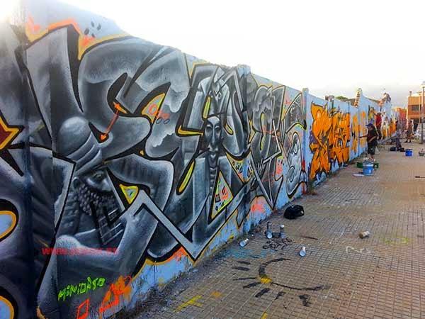 Graffitis en Torredembarra para cumpleaños de Leim