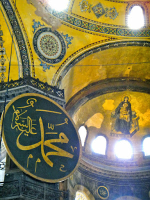 A painting of Mother Mary and Jesus at Hagia Sophia Museum Turkey