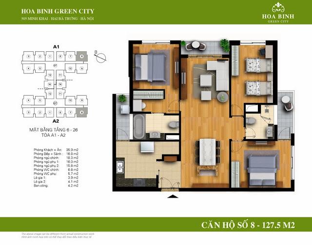 chung cư Hòa Bình Green City Căn hộ số 8 dt 127.5m2