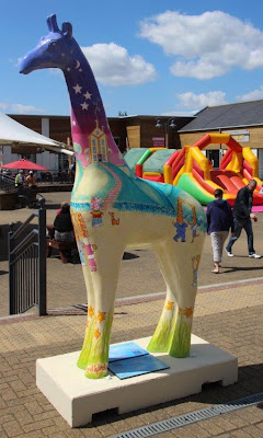 Nextra-terrestrial giraffe by artist Ingrid Sylvestre at Clacton Factory Outlet