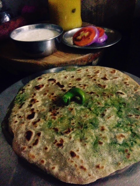 aloo palak potato spinach paratha 3