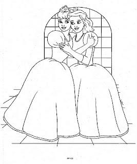 Reina abrazando para colorear