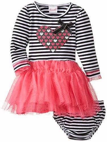 Nannette Baby-Girls' Infant Two-Piece Striped Heart Dress Set