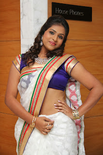 Telugu Television TV Actress Hemalatha  Pictures in White Saree at  Birthday Party 0022.JPG