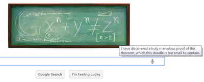 Google Doodle showing Fermat's line in funny way