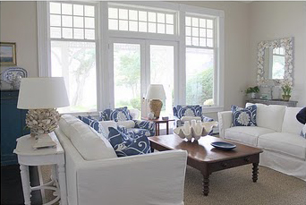 Navy And Frey Living Room
