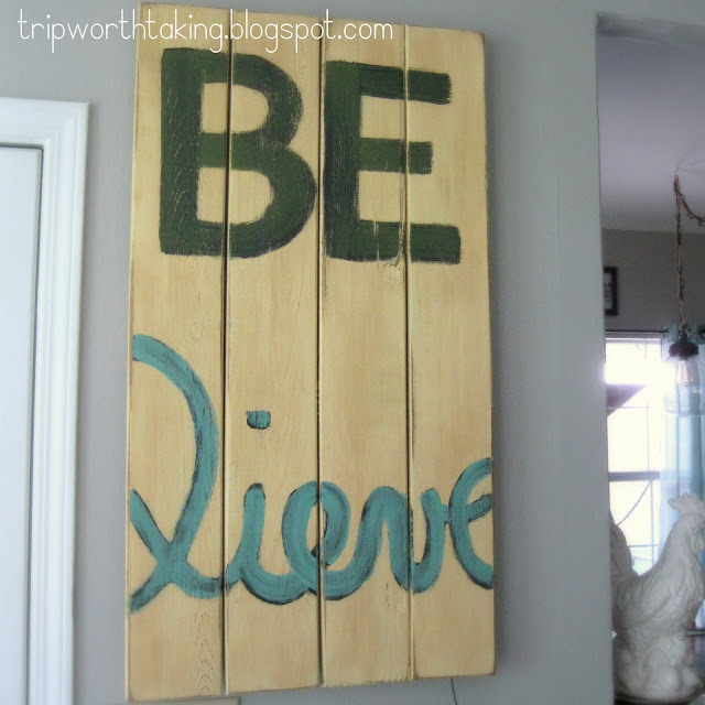 Believe wood plank artwork