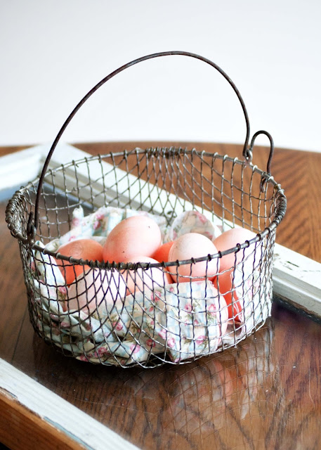 Tutorail on how to use Jell-O to dye Easter Eggs - Eggs in Vintage Wire Basket