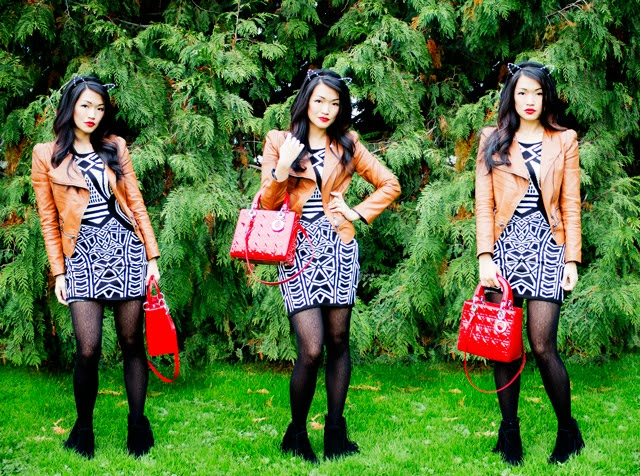 Vancouver Fashion blogger jasmine zhu wearing aztec sweater dress, cat ear head band, jeffrey campbell booties