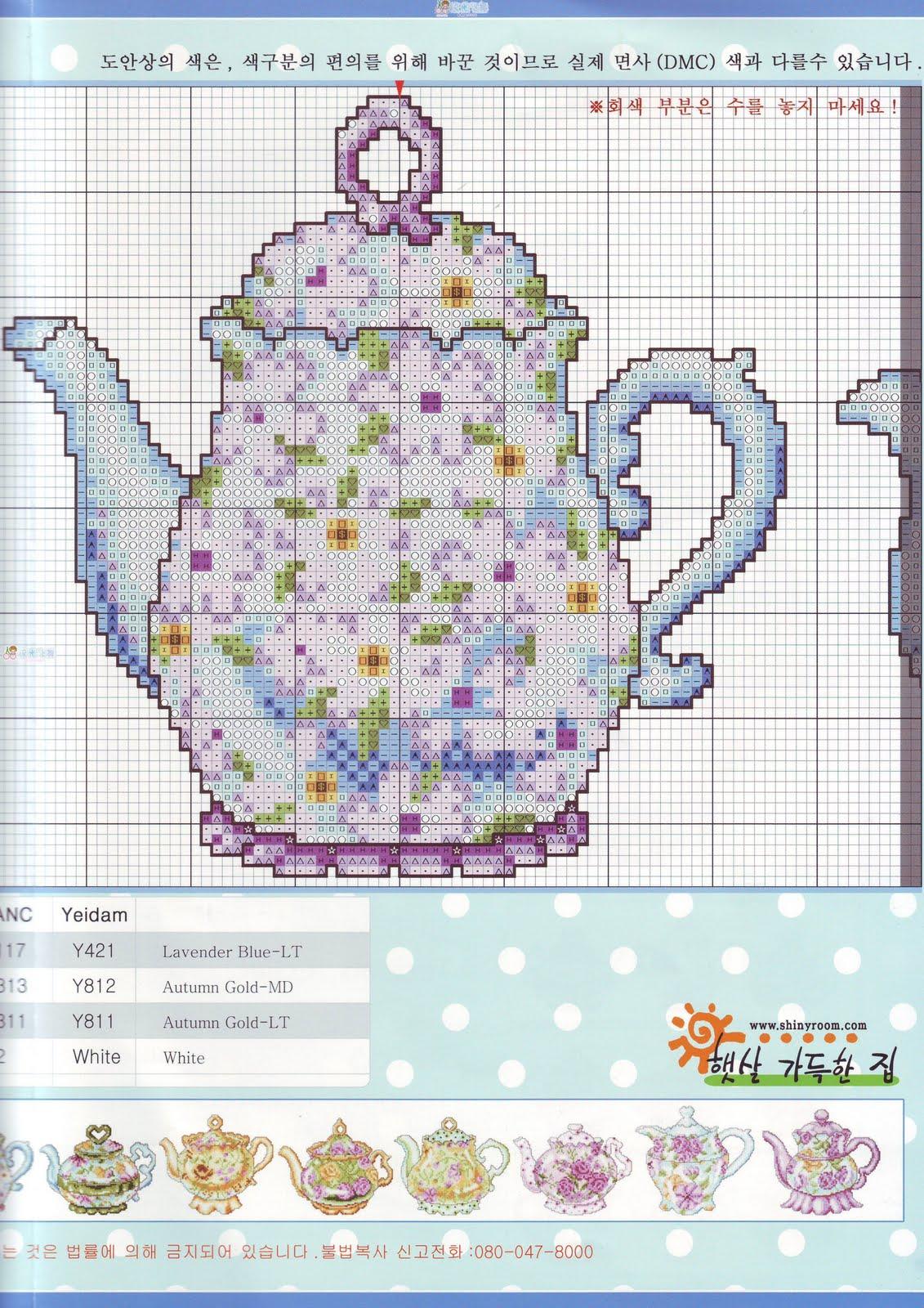 Вышивки крестом схемы чайники