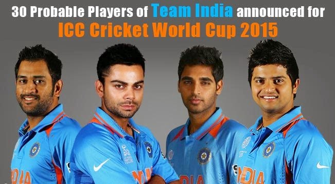 Indian Cricket Team Players Name List ICC Cricket World Cup 2015
