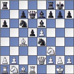Posición de la partida de ajedrez H. Nusle - Ramón Crusi Moré después de 12... Dd7!