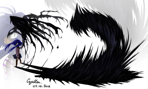 Cyellen avec des ailes noires liquéfiées et un monstre sortant de son ombre