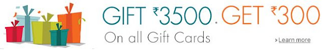 Amazon Gift Card Offer – Free Rs.300 Gift Card on purchase of Rs.3500 worth of Gift Cards