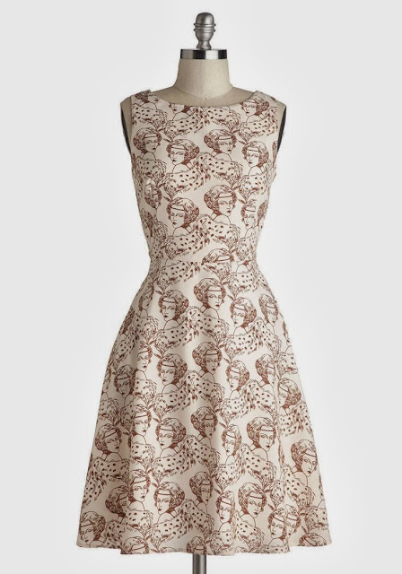Modcloth, Modcloth.com, Fabulous Flapper Dress, flapper face, cream brown dress, Myrtlewood, 1920s