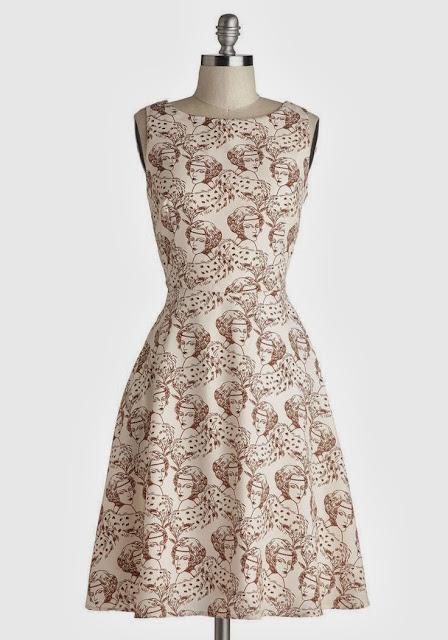 Modcloth, Modcloth.com, Fabulous Flapper Dress, flapper face, cream brown dress, Myrtlewood, 1920s