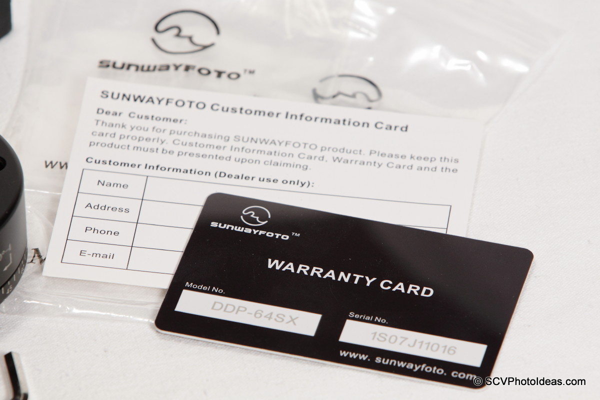Sunwayfoto DDP-64SX P.I.R. warranty & customer info cards