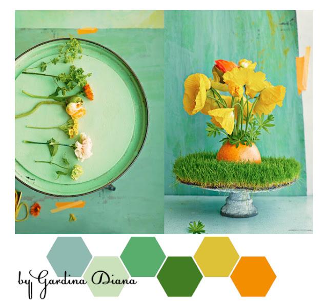 Как сочетать зеленый, мятный и оранжевый цвета. Яркая весенняя и летняя цветовая палитра.