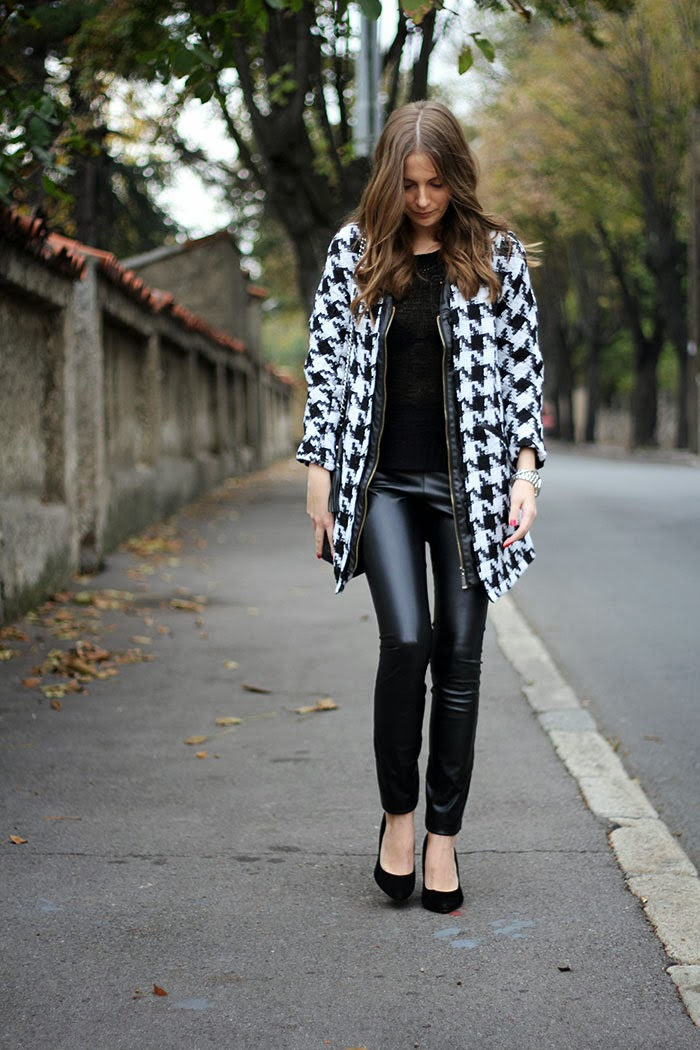Fashion And Style Houndstooth Coat