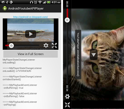 Force YouTube Android Player to run in full screen mode