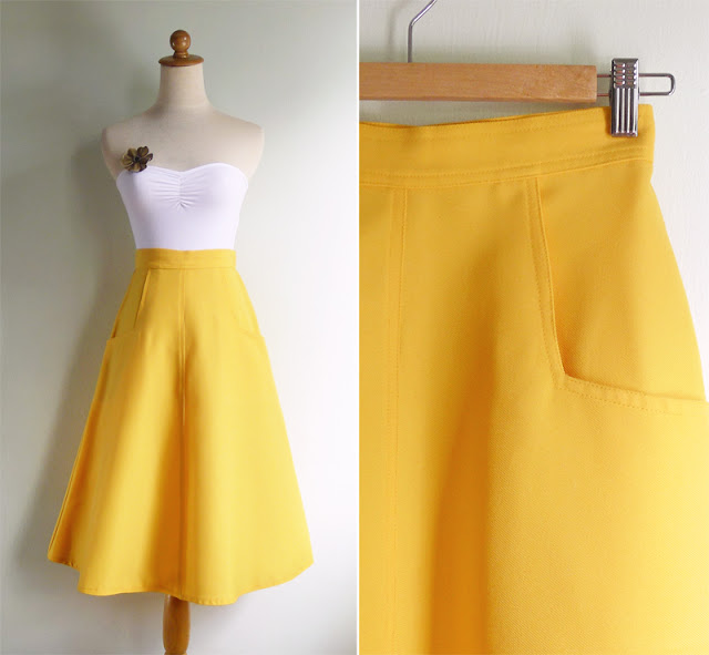 vintage 70's canary yellow pocket skirt