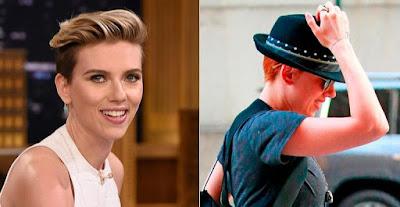 Scarlett Johansson tenta disfarçar com os cabelos ruivos