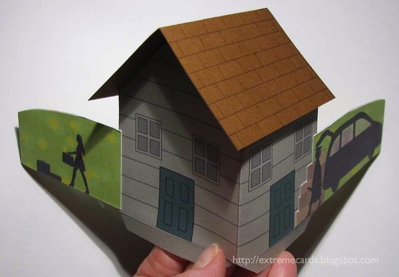 detail of pop up house card
