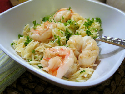 Lemon Pepper Shrimp Scampi served with orzo