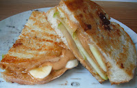 Grilled Peanut Butter, Banana and Apple Sandwich with Honey