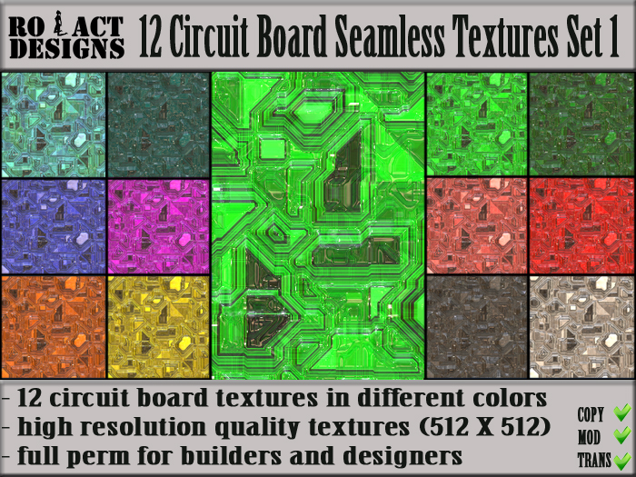 Ro!Act Designs: Ro!Act Designs 12 Circuit Board Seamless Textures Set 1
