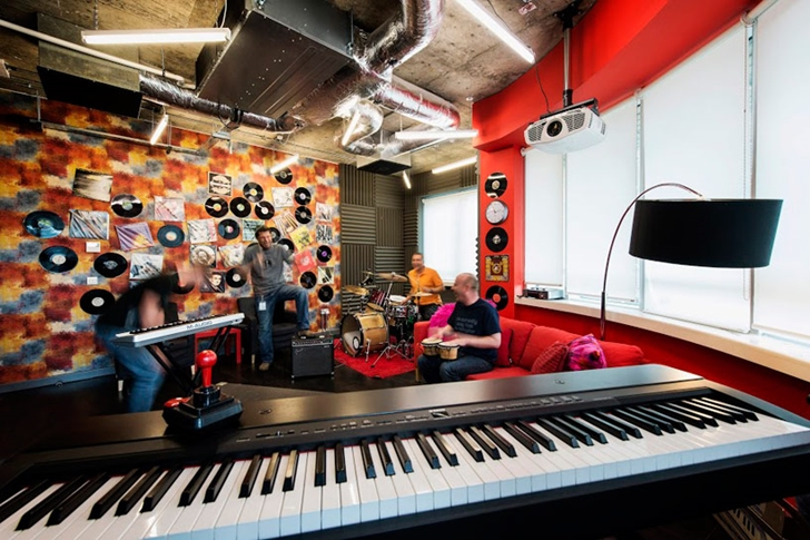Music room in Google office in Dublin