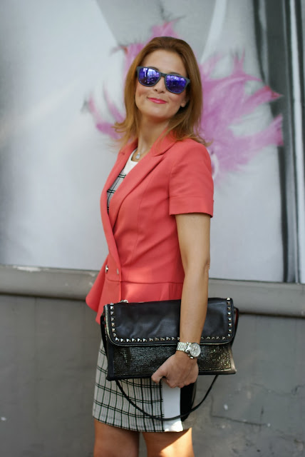 Half sleeve peplum blazer, Oakley mirror sunglasses, Zara check dress, Fashion and Cookies, fashion blogger
