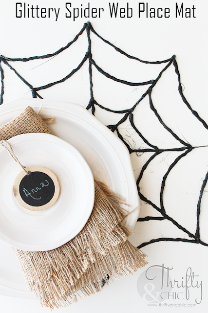 http://www.thriftyandchic.com/2015/10/diy-glittery-spider-web-place-mat.html