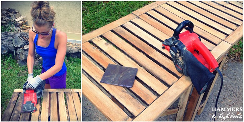 Hammers And High Heels Some Serious Stripping And Refinishing Our Wood Patio Set