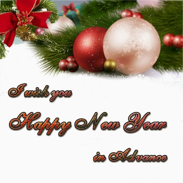 Christmas Balls Ornaments Happy New Years Advance Wishes 2015 eCard