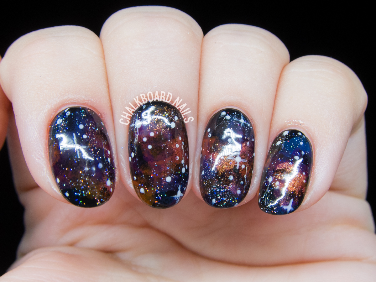 Bejeweled Galaxy Nail Art | Chalkboard Nails | Nail Art Blog