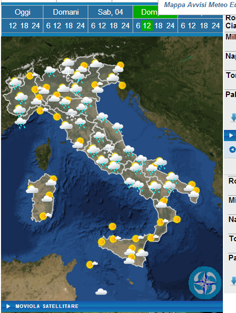 Weather forecast Easter in italy