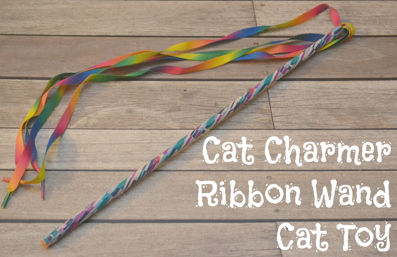Diy cat charmer ribbon wand cat toy building our story for Diy cat wand