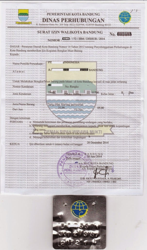Surat Ijin Bongkar Muat untuk Kendaraan Penumpang / Barang