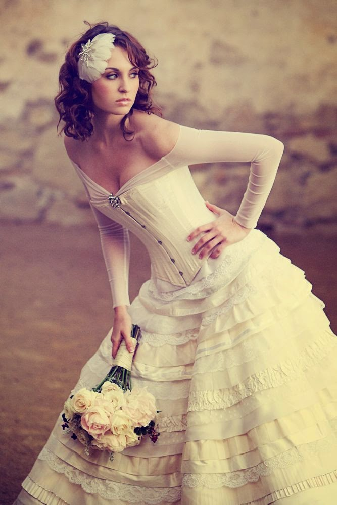 vintage style wedding dress by Joan Shum