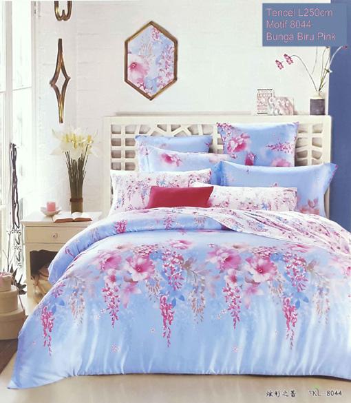 Sprei Tencel Motif Bunga Pink Biru