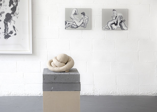 Whitney McVeigh (monoprint), Konrad Wyrebek (sculpture), Sarah Lucas (sculpture, courtesy of Sadie Coles HQ), Konrad Wyrebek (two oil paintings)