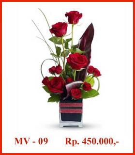Ikebana dalam rangkaian bunga valentine
